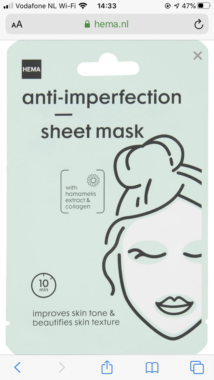 Hema Anti-Imperfection Sheet Mask