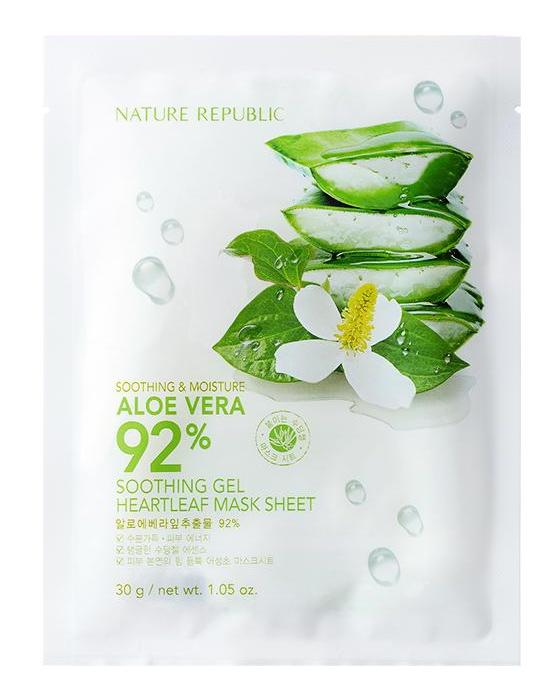 Nature Republic Soothing & Moisture Aloe Vera 92% Soothing Gel Heartleaf Mask Sheet