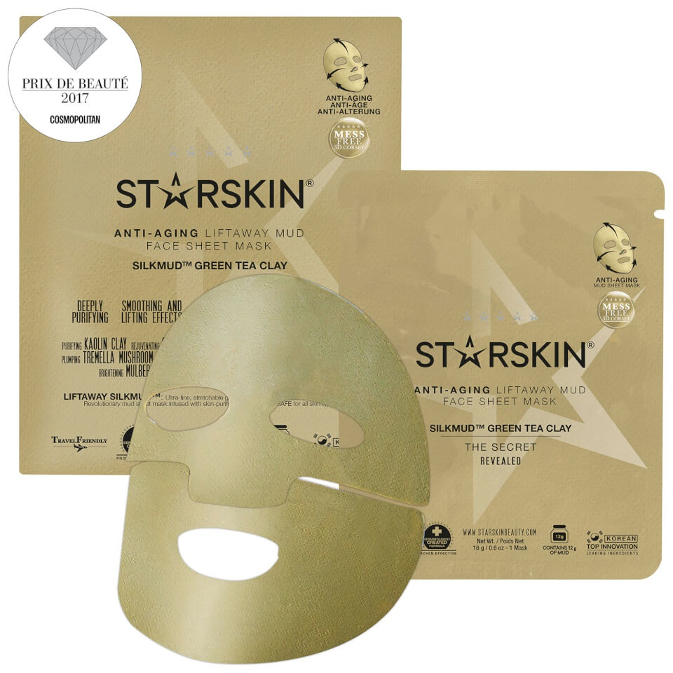 STARSKIN Silkmud™ Green Tea Clay Anti-Aging Liftaway Mud Face Sheet Mask