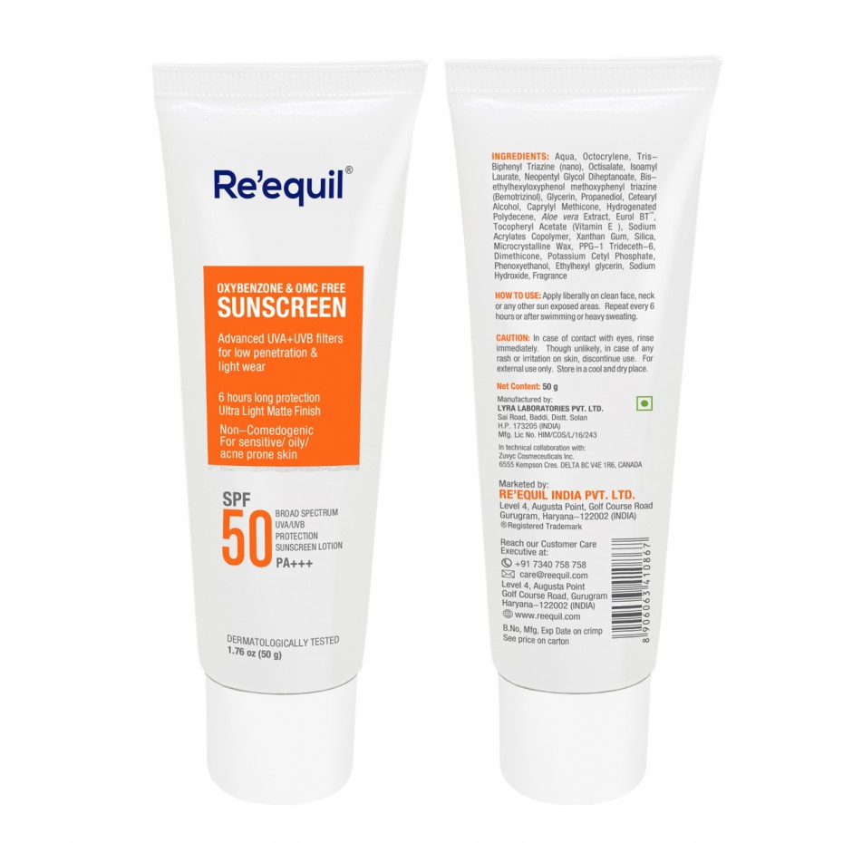 Re'equil Oxybenzone & OMC Free Sunscreen Lotion Spf 50 PA+++