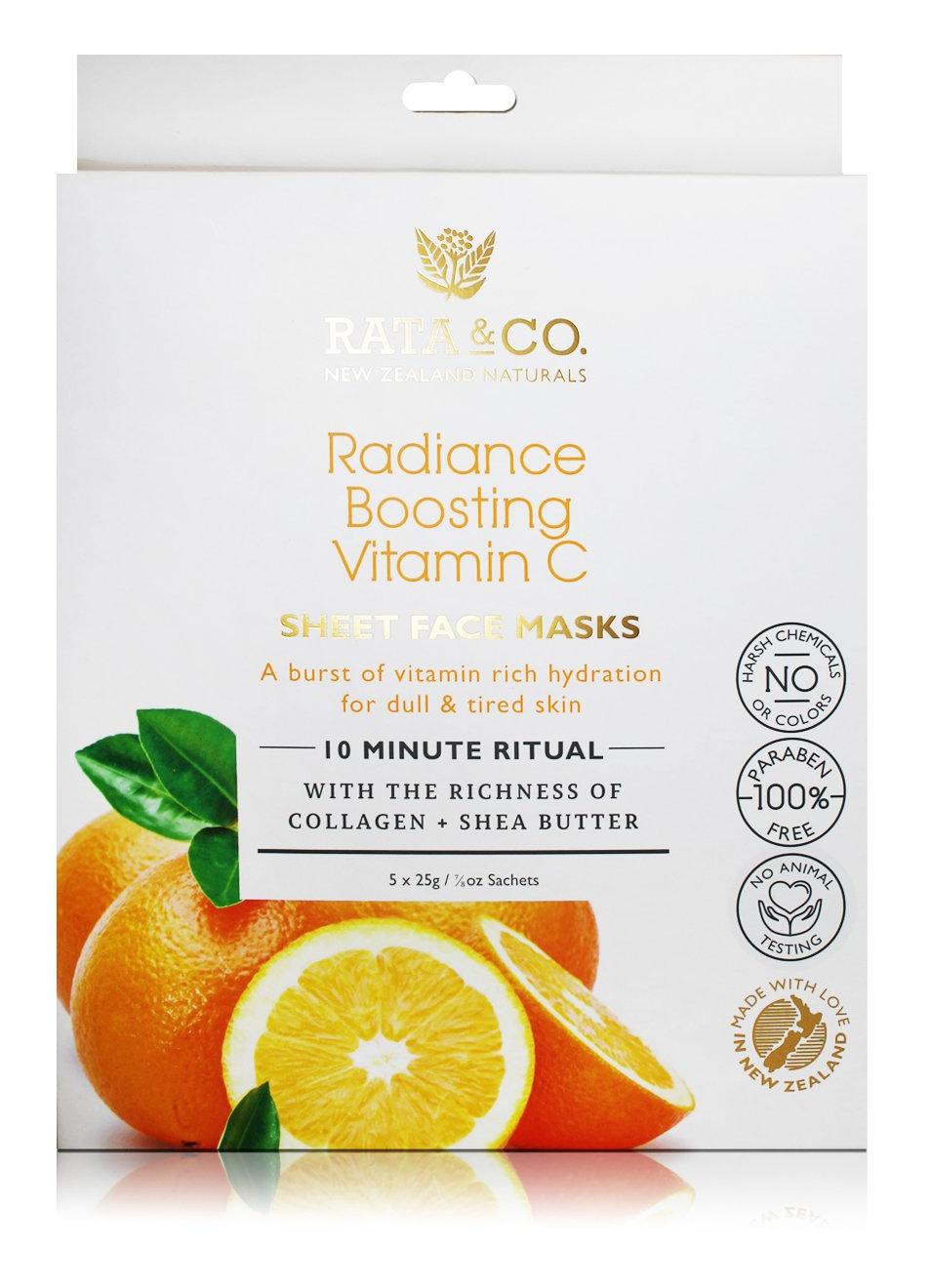 Rata & Co Radiance Boosting Vitamin C Sheet Face Masks