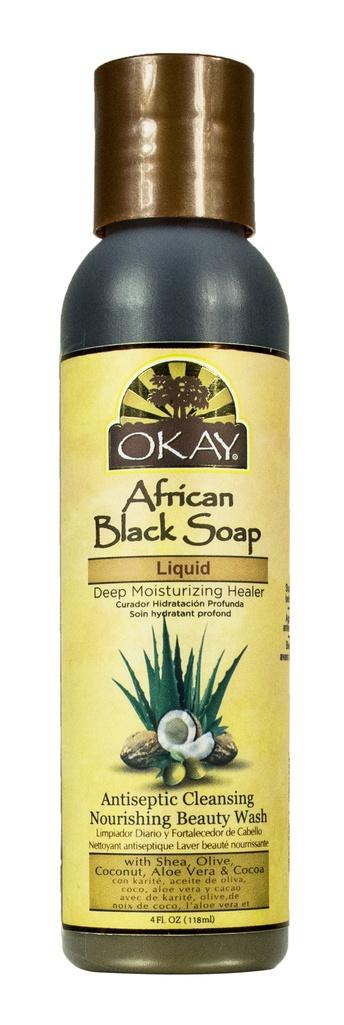 Okay Pure Naturals African Black Soap Liquid, Deep Moisturizing Healer, With Shea, Olive, Coconut, Aloe & Cocoa