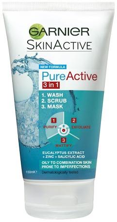 Garnier Pure Active 3 In 1 Face Mask Wash & Scrub