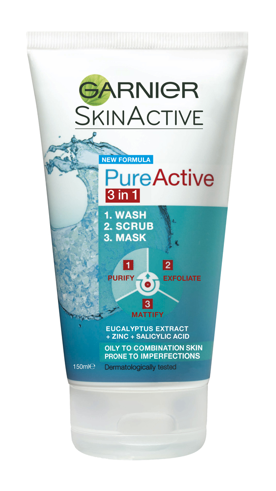 Garnier Pure Active 3-In-1 Wash, Scrub, Mask