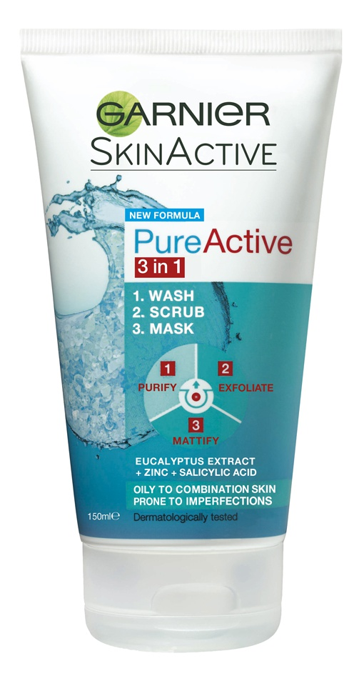 Garnier Pure Active 3-In-1 Wash, Scrub, Mask