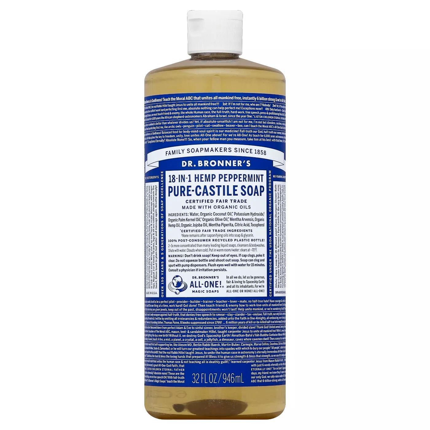Dr. Bronner's Hemp Peppermint Pure Castile Soap