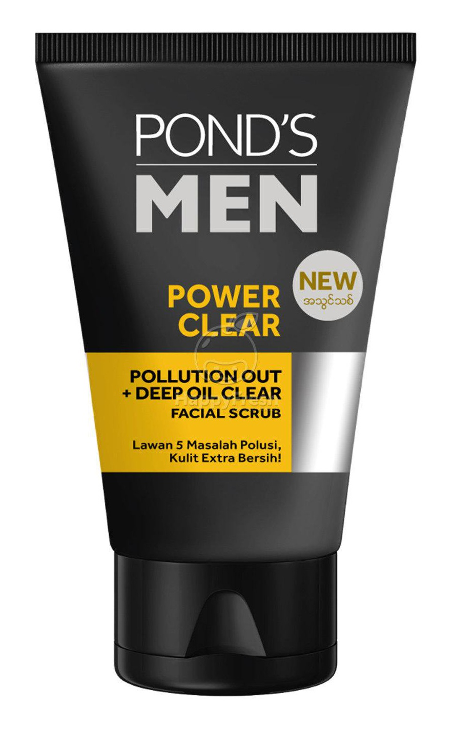 Pond's Men Power Clear Pollution Out + Deep Oil Clear Facial Scrub
