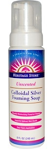 Heritage Store Colloidal Silver Foaming Soap, Unscented