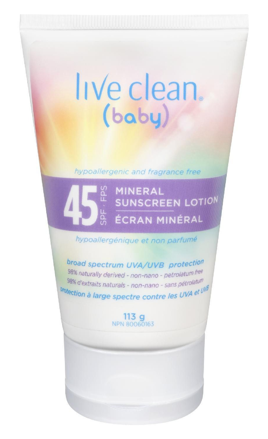 Live Clean Baby Mineral Sunscreen Spf 45