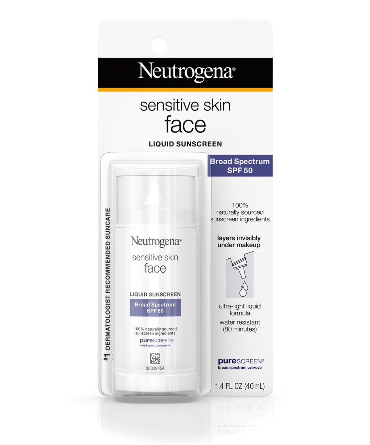 Neutrogena Sensitive Skin Face Liquid Sunscreen Broad Spectrum Spf 50