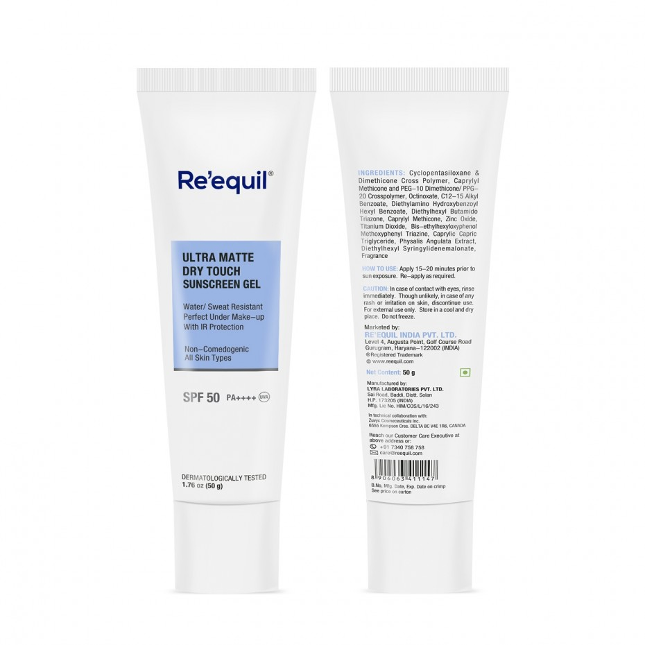 Re'equil Ultra Matte Dry Touch Sunscreen Gel Spf 50 PA++++