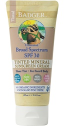 Badger Tinted Sunscreen - Spf30 Unscented Cream