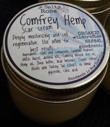 The Salty Rose Comfrey Hemp Scar Cream