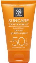 Apivita Suncare Anti-Wrinkle Face Cream Olive & 3D Pro-Algae Spf50