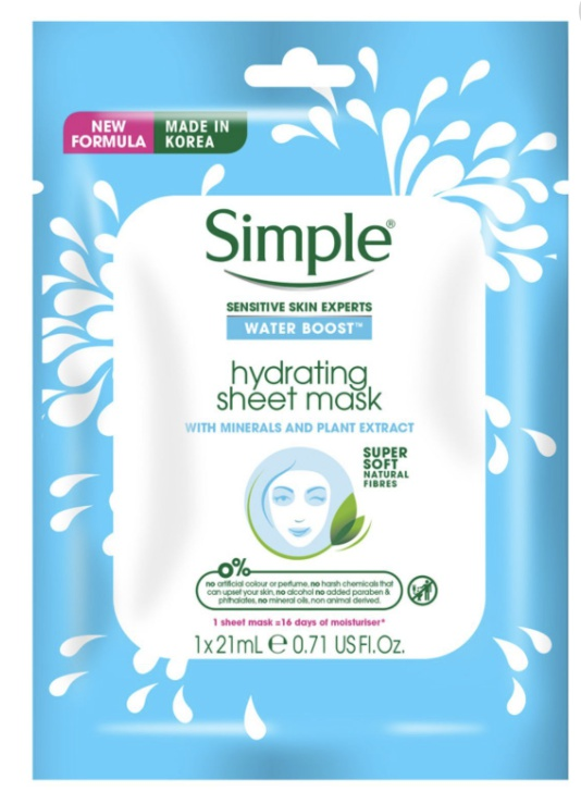 Simple Water Boost Hydrating Sheet Mask