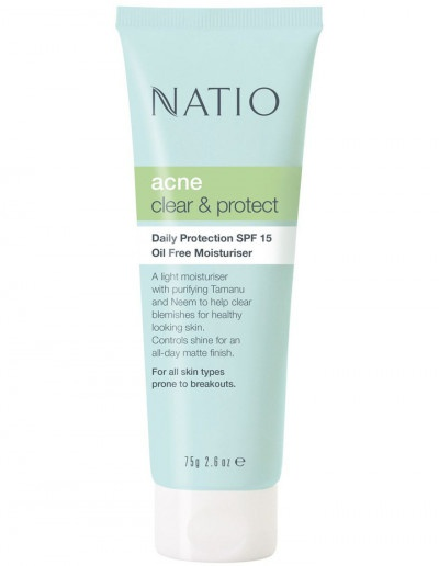Natio Acne Clear And Protect Oil Free Moisturiser Spf 15+