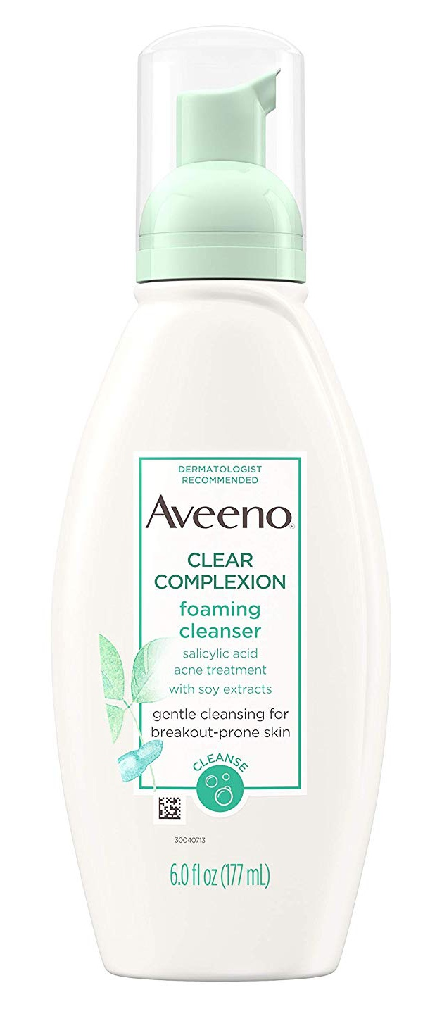 Aveeno Clear Complexion Foaming Salicylic Acid Face Cleanser For Sensitive Skin