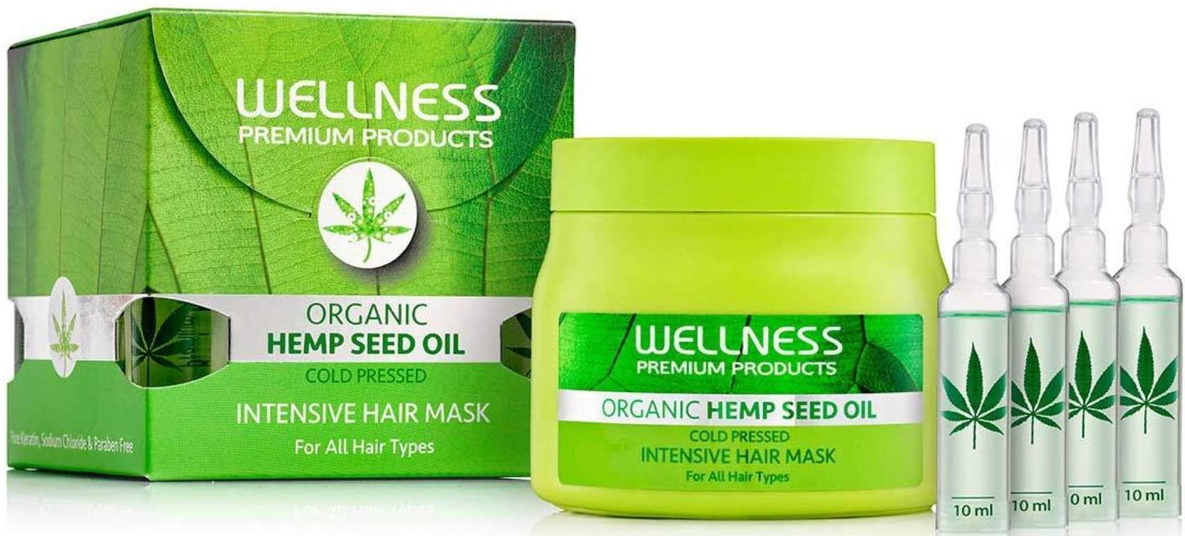 WELLNESS PREMIUM PRODUCTS Organic Hemp Seed Oil Intensive Mask & Ampoule Treatment (Set Of 4)