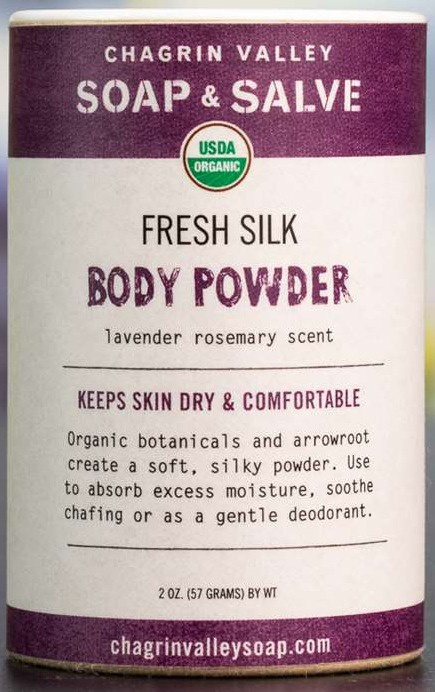 Chagrin Valley Soap & Salve Fresh Silk Body Powder Lavender Rosemary Sent