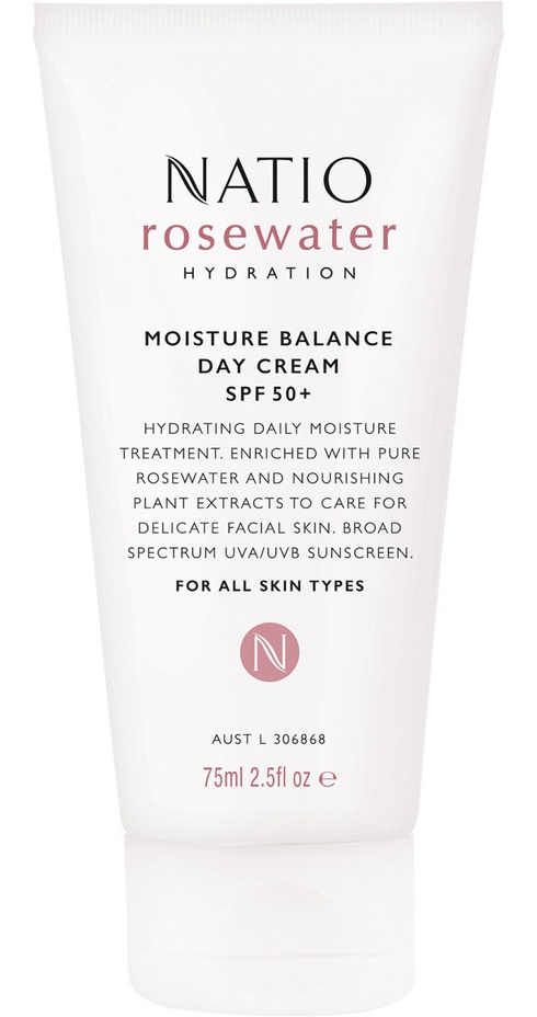 Natio Rosewater Hydration Moisture Balance Day Cream Spf 50+