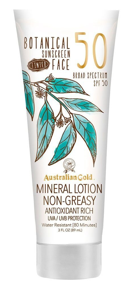 Australian Gold Botanical Sunscreen Tinted Face Mineral Lotion, Broad Spectrum, Water Resistant, Spf 50