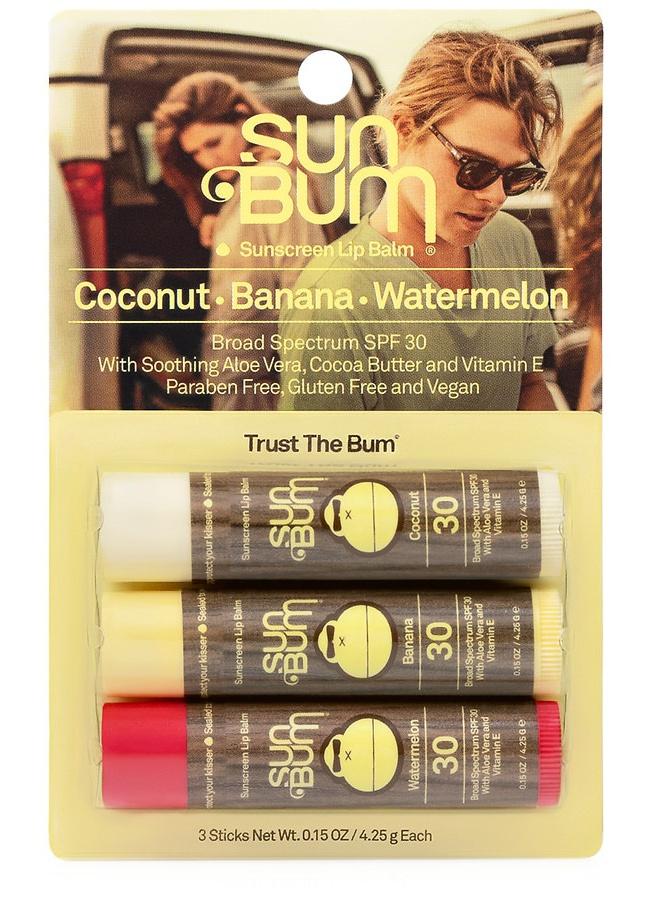 Sun Bum Spf 30 Lip Balm Coconut, Watermelon And Banana