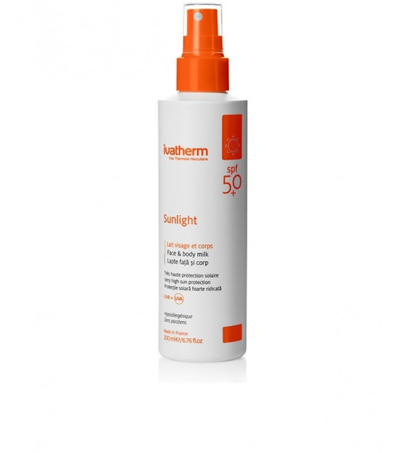 ivatherm Eau Thermale Herculane Sunlight High Sun Protection Milk, Face And Body Milk Spf 50+