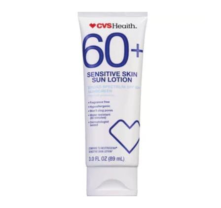 CVS Health Sensitive Skin Sun Lotion Spf 60+