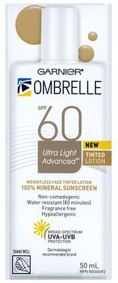 Garnier Ombrelle Tinted Ultra Light Face Mineral Sunscreen Lotion Spf 60