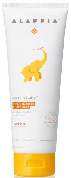 Alaffia Baobab Baby 2-In-1 Shampoo & Body Wash, Unscented
