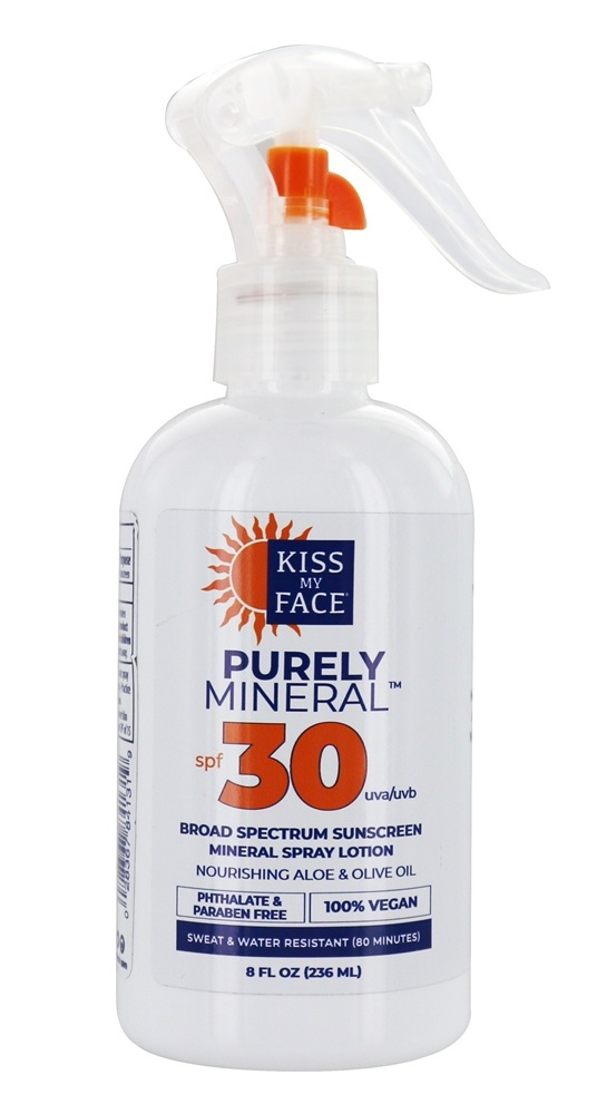 Kiss My Face , Purely Mineral, Broad Spectrum Sunscreen Mineral Spray Lotion, Spf 30