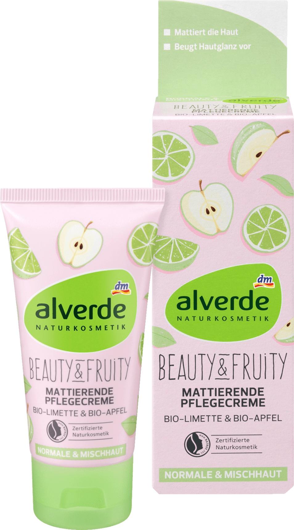alverde Tagescreme Beauty & Fruity Mattierende Pflegecreme Bio-Limette Bio-Apfel