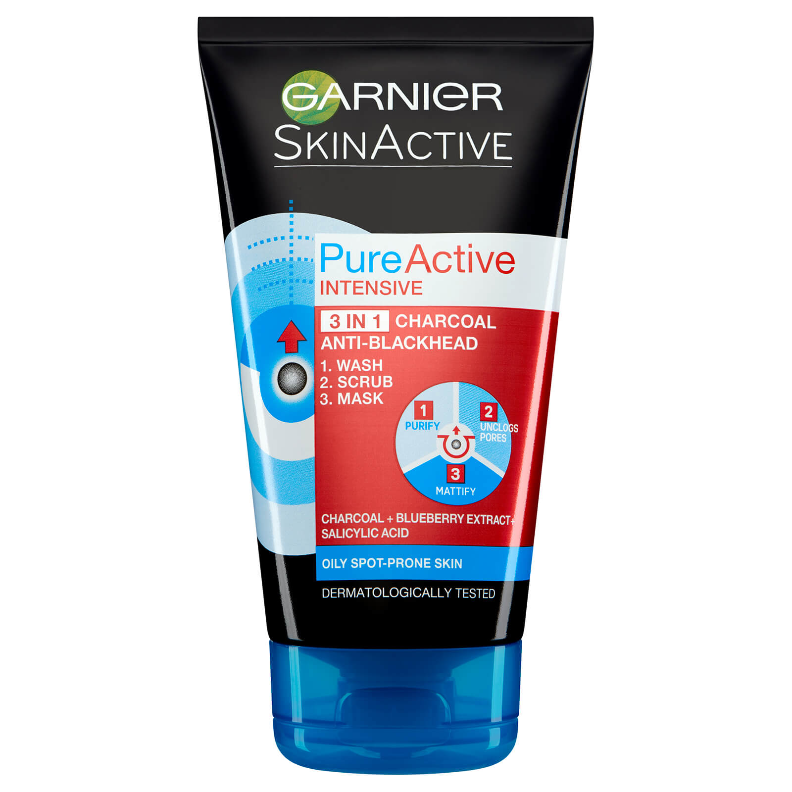Garnier Pure Active Intensive 3 In 1 Anti-Blackhead Charcoal Wash, Scrub And Mask