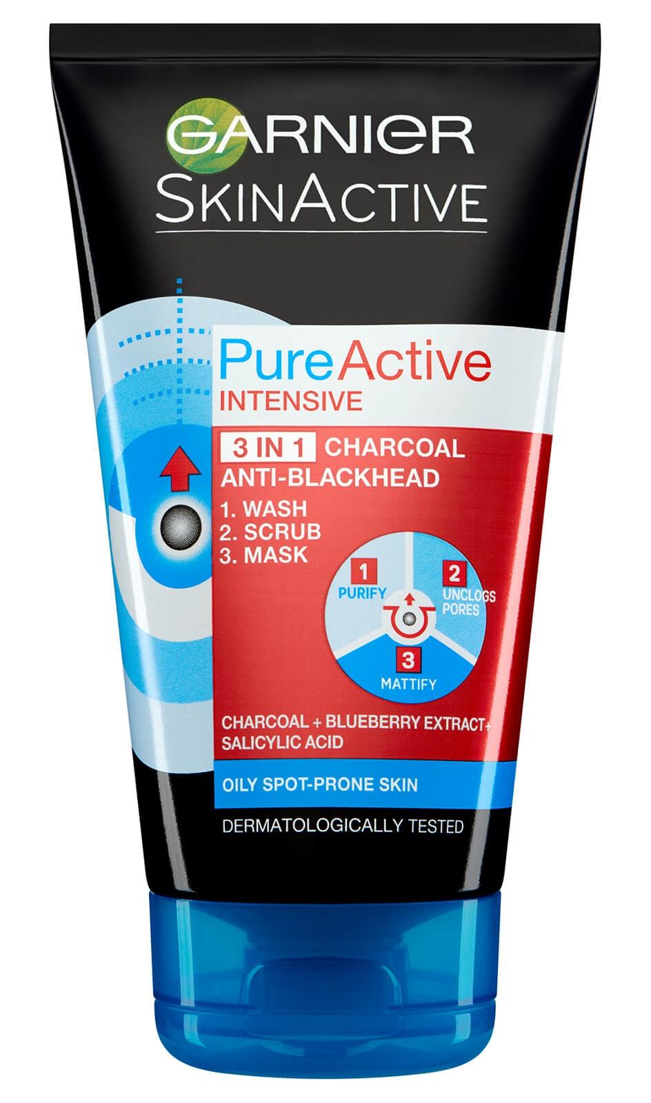 Garnier Pure Active Intensive 3 In 1 Anti-Blackhead Charcoal Wash, Scrub And Mask