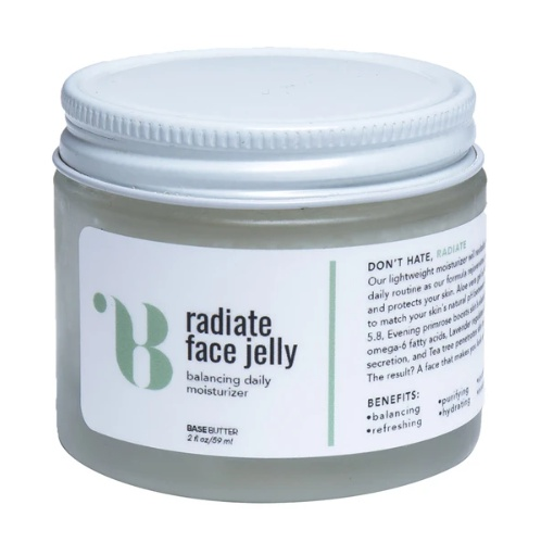 Base Butter Radiate Face Jelly: 2Oz Aloe Vera Gel Face Moisturizer