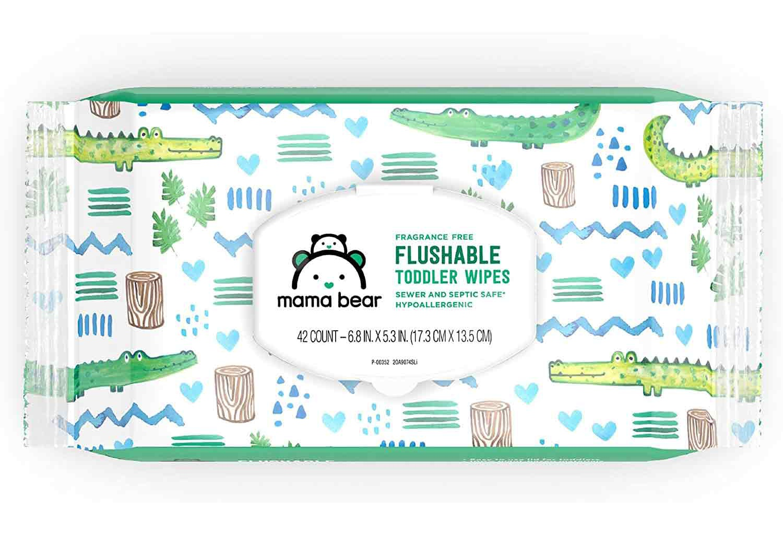 Mama Bear Fragrance Free Flushable Toddler Wipes