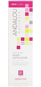 Andalou Naturals Pearl Exfoliator, Sensitive, 1000 Roses