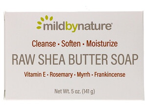 Mild By Nature Raw Shea Butter, Bar Soap, With Vitamin E, Rosemary, Myrrh & Frankincense