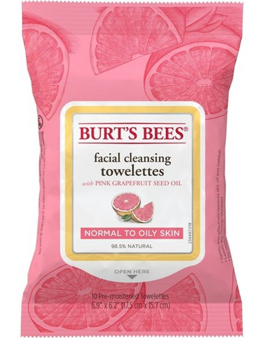 Burt's Bees Facial Cleansing Towelettes Wipes With Pink Grapefruit Seed Oil