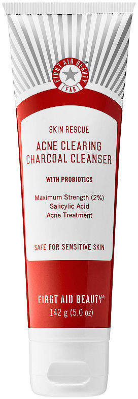 First Aid Beauty Skin Rescue Acne Clearing Charcoal Cleanser With Probiotics