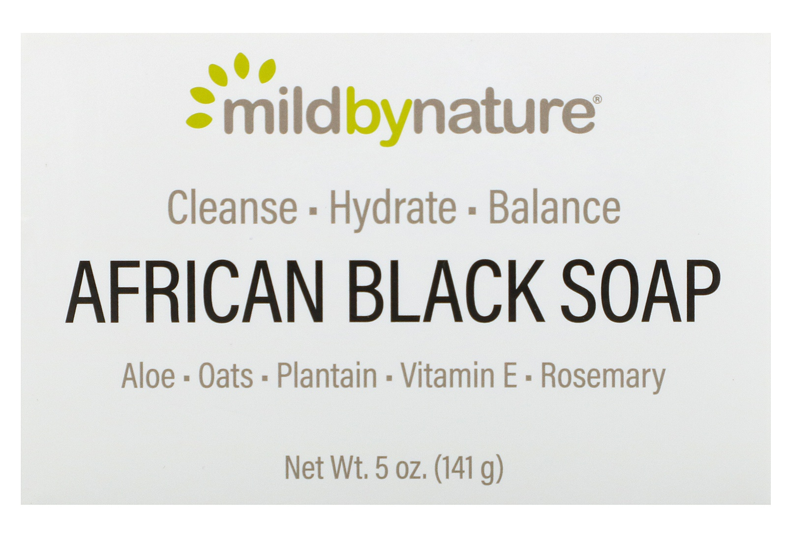 Mild By Nature African Black, Bar Soap, With Oats & Plantains