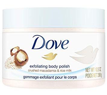 Dove Exfoliating Body Polish Body Scrub, Macadamia & Rice Milk