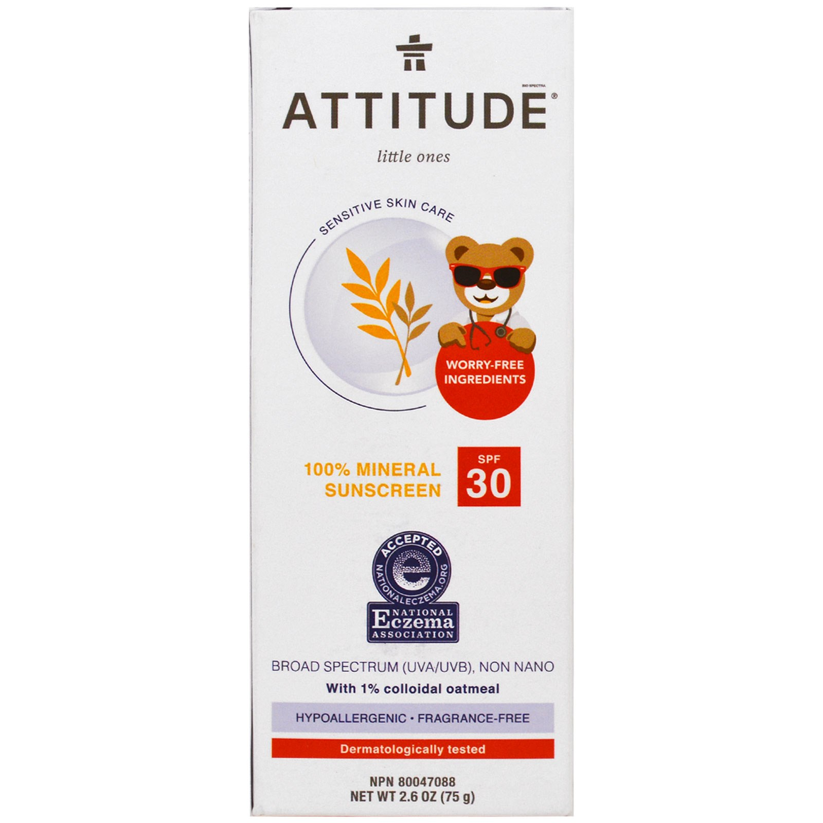 Attitude Baby Sunscreen Spf 30 - 100% Mineral - Fragrance Free