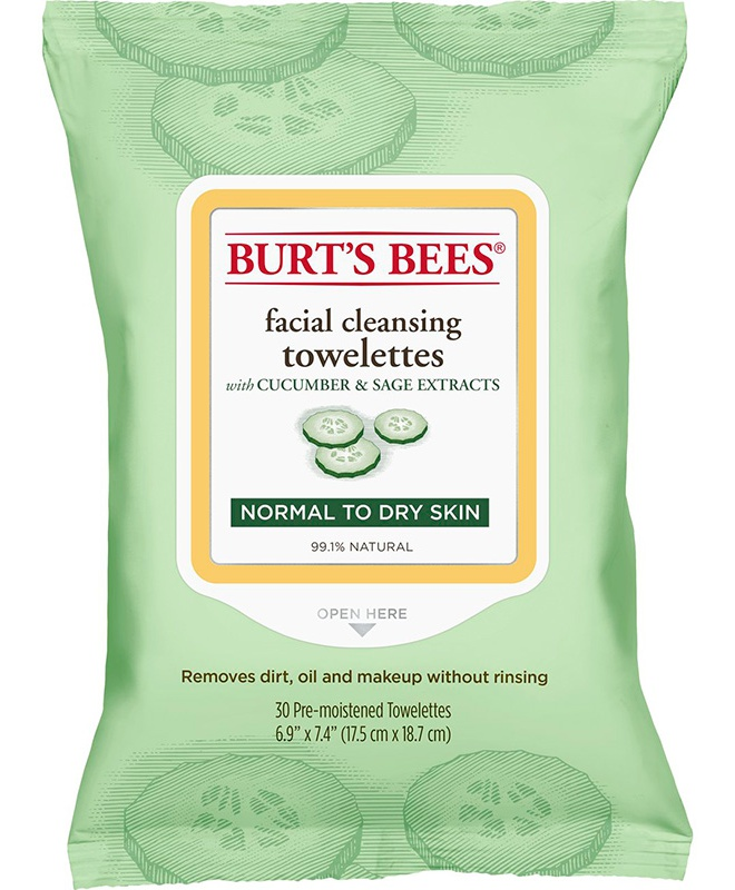 Burt's Bees Facial Cleansing Towelettes With Cucumber And Sage Extracts