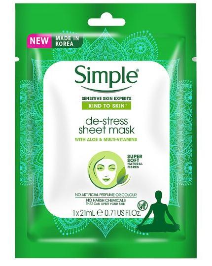 Simple De-Stress Sheet Mask With Aloe & Multi-Vitamins