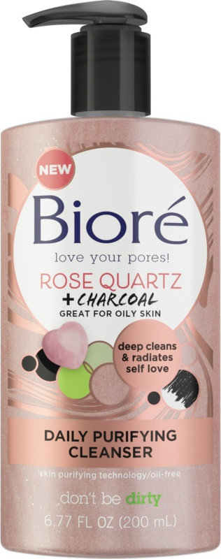 Biore Rose Quartz And Charcoal Daily Purifying Cleanser
