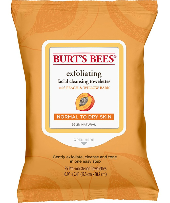 Burt's Bees Facial Cleansing Towelettes With Exfoliating Peach And Willow Bark