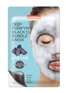 PUREDERM Deep Purifying Black O2 Bubble Sheet Mask Charcoal