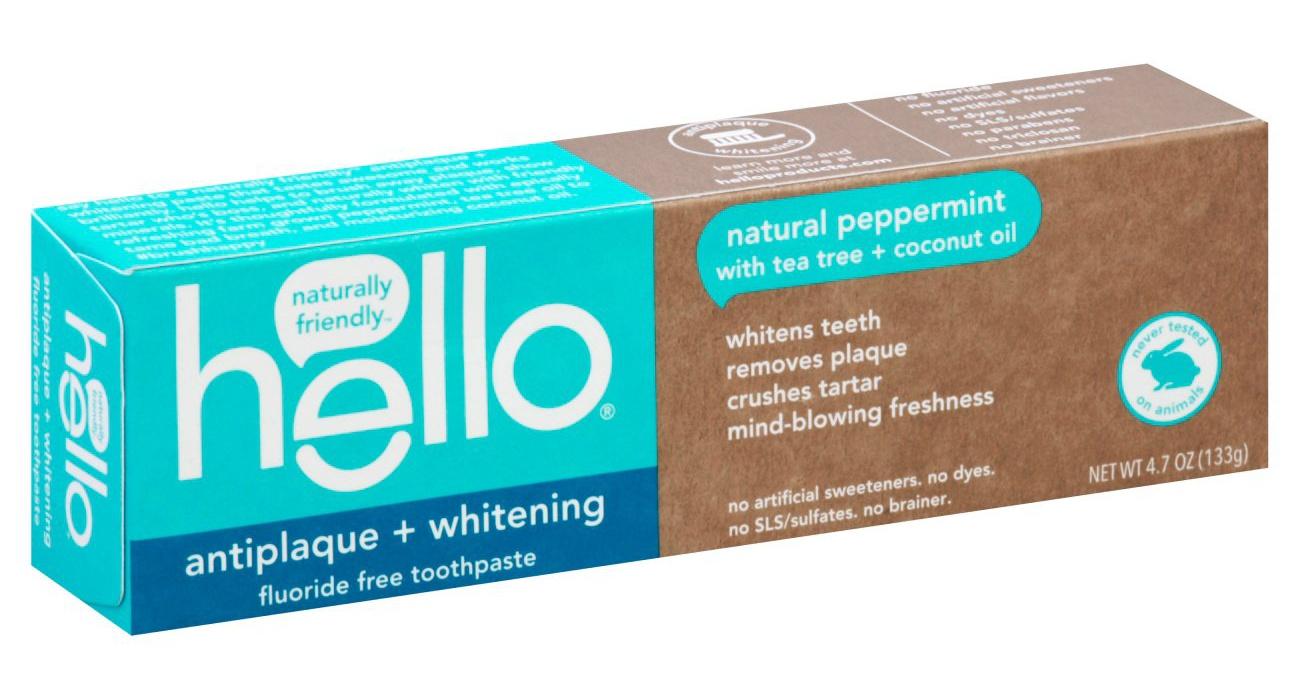 Hello Antiplaque And Whitening Toothpaste, Fluoride Free