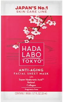 Hada Labo Tokyo Anti-Ageing Facial Sheet Mask With Hyaluronic Acid, Retinol And Collagen